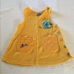 Vintage Dresses - Vintage Blue Clues Yellow Fleece Jumper Dress
